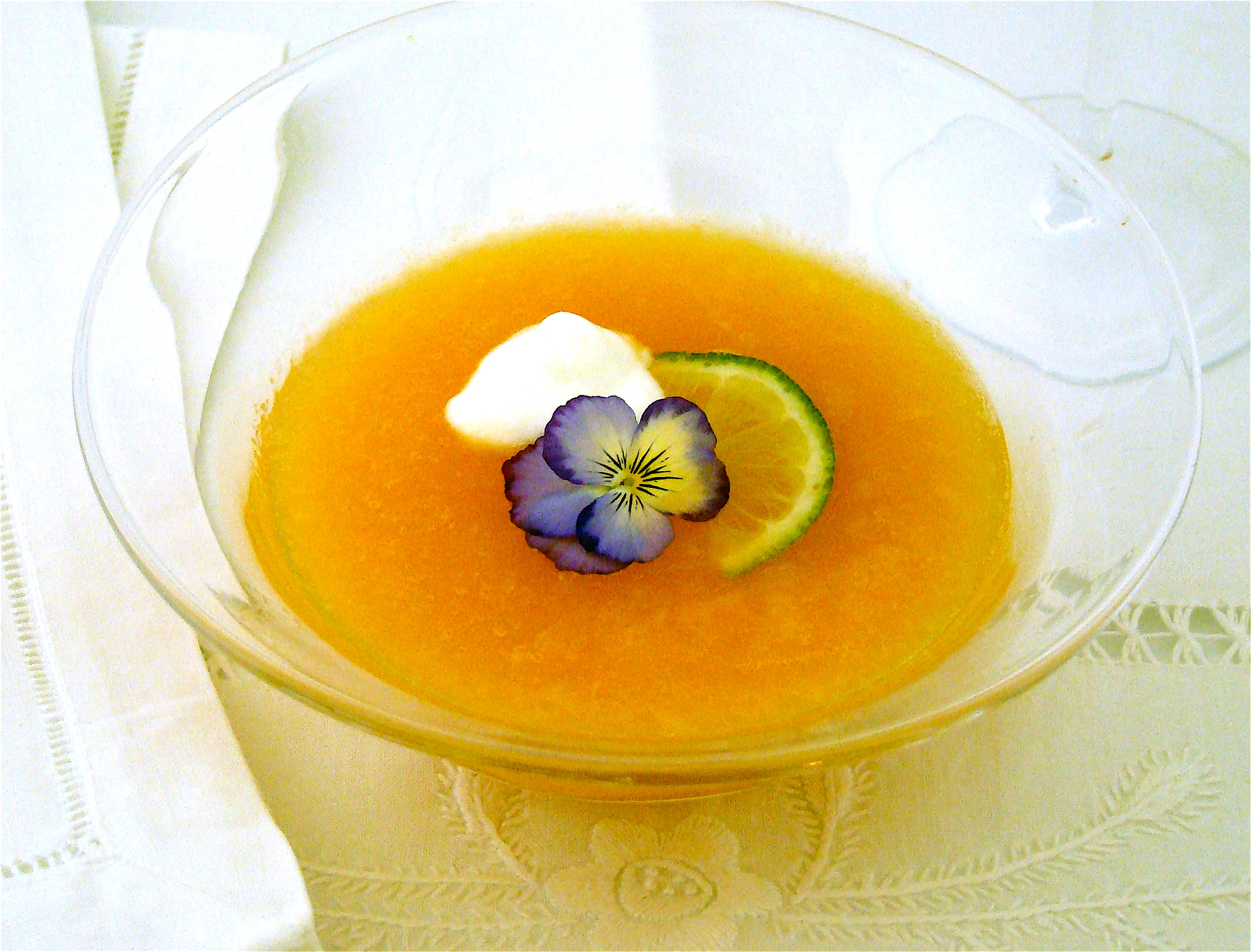 ... cantaloupe and yogurt soup with ginger lime and mint soup chick